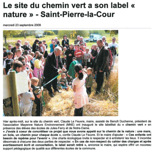 OF-23 septembre 2009-Le site du chemin vert a son label nature Saint Pierre la Cour